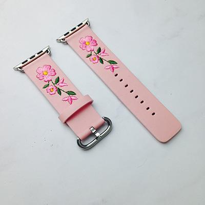 Apple Pink / For Apple watch 38 Faux Leather Watchband For Apple Watch 38mm 42mm Red Flower Embroidery Women Men Replace Bracelet Strap Band for iwatch 1 2 3