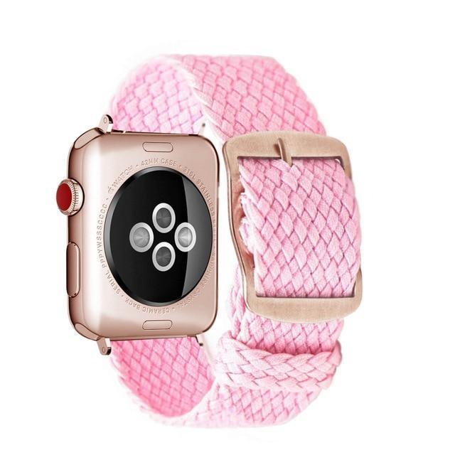 Apple Pink Rose / 44mm Apple Watch Series 5 4 3 2 Band, Soft Breathable Nylon Polyester Watch, Sport Bracelet Strap for iWatch 38mm, 40mm, 42mm, 44mm