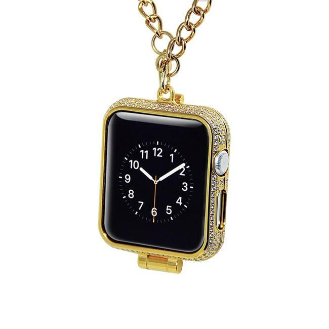 Apple Premium pendant charm bezel case protector, bling rhinestone diamonds crystal encrusted 24kt gold plated jewelry watch necklace cover for Apple watch  38mm, 42mm, series  3 2 1