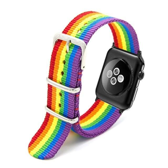 Apple Rainbow / 44mm Woven Nylon Band Watchband For Apple Watch 3 42mm 38mm fabric-like strap iwatch 3/2/1 wrist band nylon watchband belt