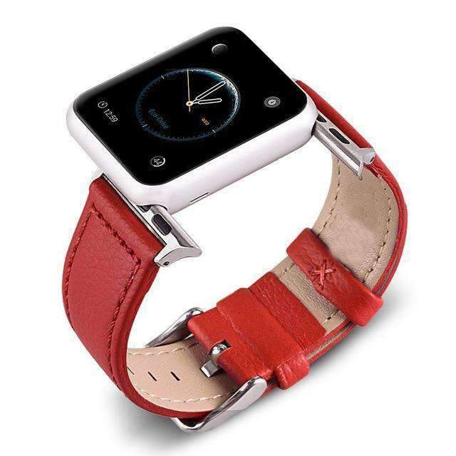 Apple Red / 38mm/40mm Apple Watch Band Genuine leather silver adaptor connector clasp buckle,  Series 1 2 3 4 5 Sport Bracelet iwatch strap fits 44mm/ 40mm/ 42mm/ 38mm