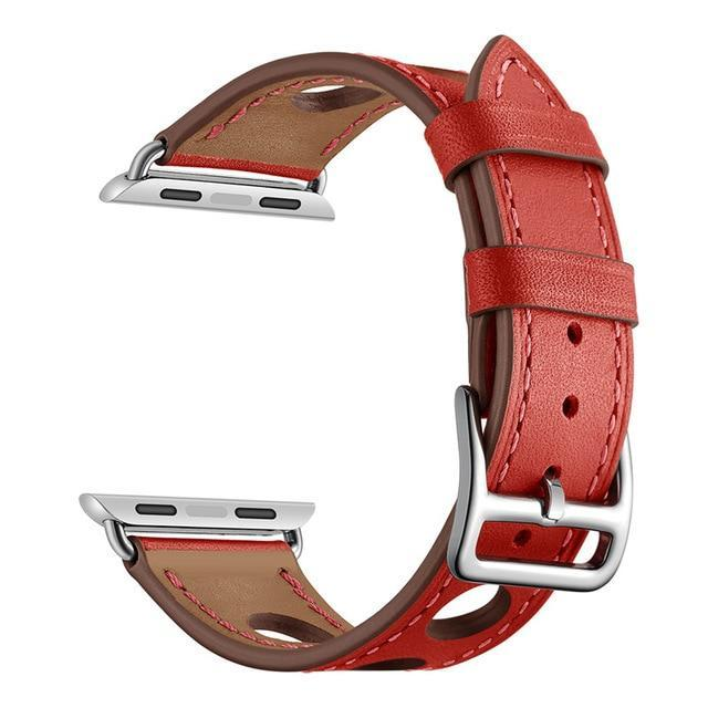 Apple Red / 38mm Apple Watch band single leather tour 42mm 38mm 44mm 40mm iwatch series 4/3/2/1 belt replacement clock bracelet wrist, USA Fast Shipping