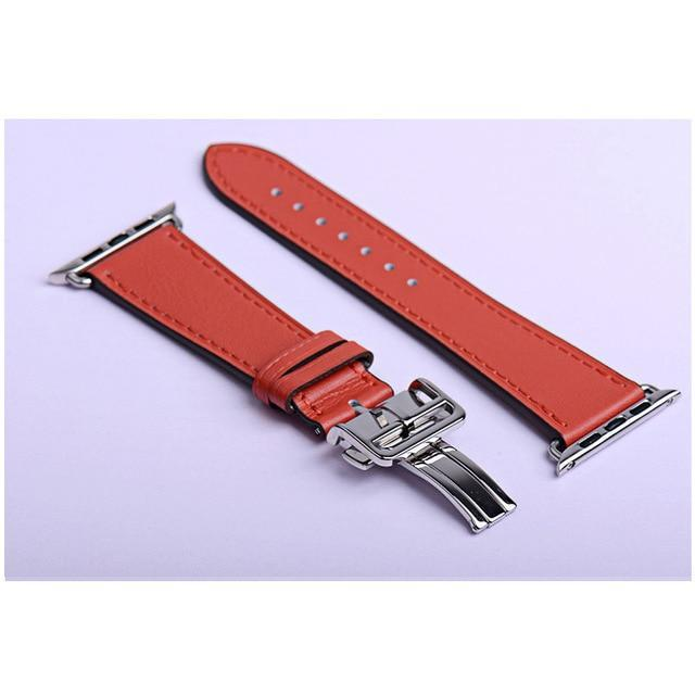 Apple red / 38mm Apple Watch Series 5 4 3 2 Band, Leather strap Deployment Buckle watch Strap watchband Hermes 38mm, 40mm, 42mm, 44mm - US Fast Shipping