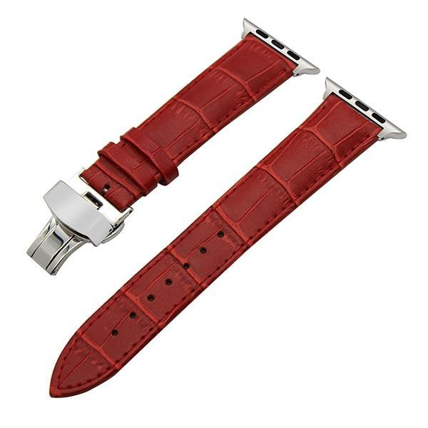 Apple Red / 38mm Faux Leather Watchband for 38mm 40mm 42mm 44mm iWatch Apple Watch Series 4 3 2 1 Band Butterfly Buckle Strap Bracelet