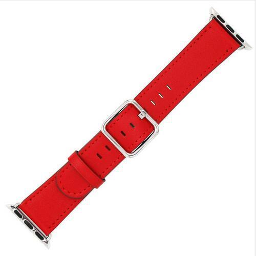 Apple Red / 42 mm Leather Strap For Apple Watch Band 42mm 38mm iwatch 4/3 Bracelet 44mm 40mm bracelet Stainless Steel Classic Buckle Watchband, USA Fast Shipping
