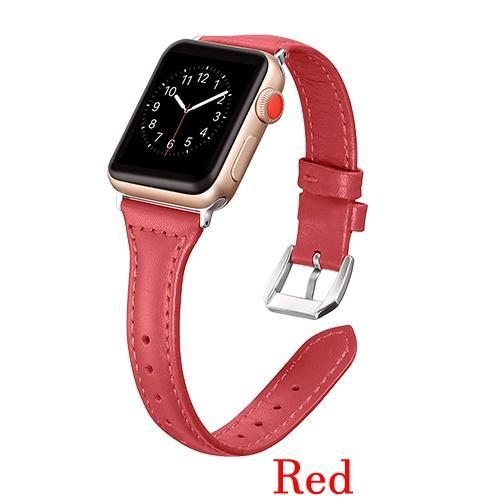 Apple Red / 42mm 44mm AW Pulseira strap For apple watch band iwatch 4 3 42mm 38mm 44mm 40mm correa for apple watch band leather Bracelet Accessories, USA Fast Shipping