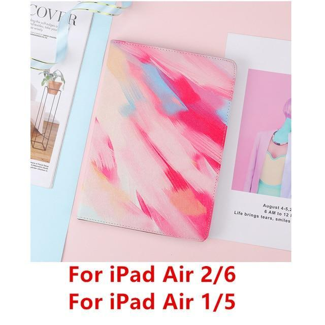 Apple Red Air 1 For iPad 9.7 2017 2018 Case A1893 Silicone Soft Back Marble PU Leather Smart Cover for iPad Air 2 1 Pro 10.5 Mini 1 2 3 4 Funda