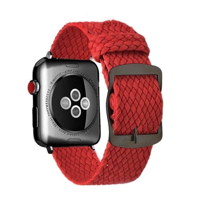 Apple Red Black / 44mm Apple Watch Series 5 4 3 2 Band, Soft Breathable Nylon Polyester Watch, Sport Bracelet Strap for iWatch 38mm, 40mm, 42mm, 44mm