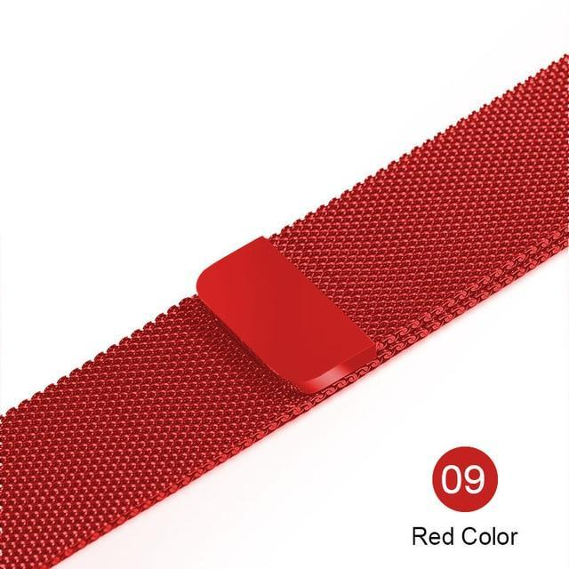 Apple red / For 38MM and 40MM milanese loop for apple watch Series 1 2 3 4 5 band for iwatch stainless steel strap Magnetic buckle 38mm 40mm 42mm44mm Bracelet