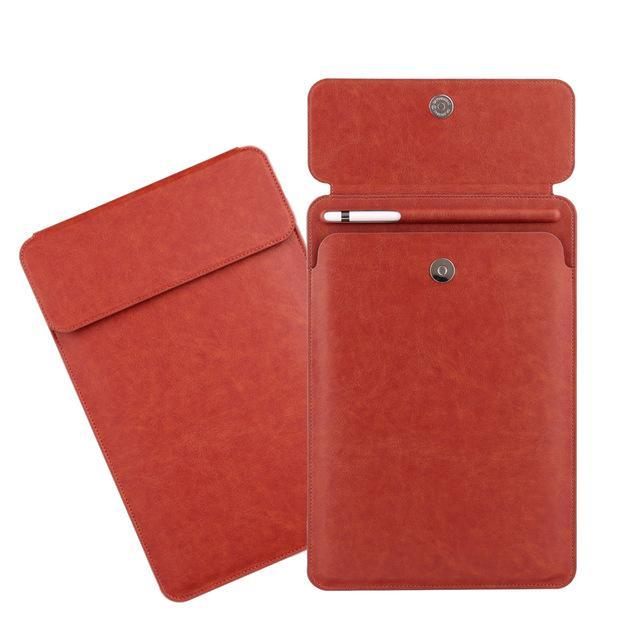 Apple red iPad Pro 10.5  sleeve Pouch Bag cover with Button flap and Pencil holder fits  9.7 & new ipad 11 2018 Release