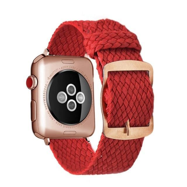 Apple Red Rose / 44mm Apple Watch Series 5 4 3 2 Band, Soft Breathable Nylon Polyester Watch, Sport Bracelet Strap for iWatch 38mm, 40mm, 42mm, 44mm