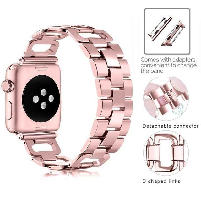 Apple Rose / For 38mm and 40mm Apple Watch Series 5 4 3 2 Band, Upgarded Strap Metal Replacement Wristband Sport Strap for Nike+ 38mm, 40mm, 42mm, 44mm