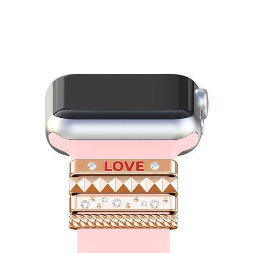 "Apple Rose Gold / 38 mm Fits 38mm only, Original Silicone Strap Ornament for Apple Watch Band Series 1 2 3 4 Stainless Steel Metal women's Decorative Ring loop ""LOVE"" Gift"