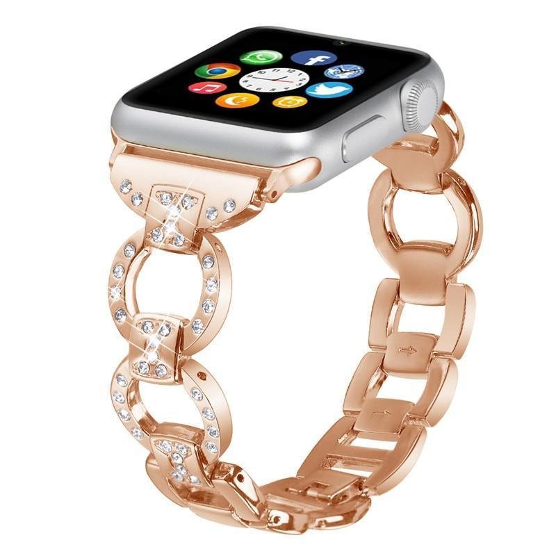 Apple Rose Gold / 38mm/40mm Apple Watch bling diamond band, 38mm 40mm 42mm 44mm, Luxury Stainless Steel Link Strap For iWatch Series 3 2 1 - US Fast shipping
