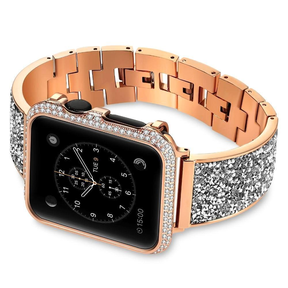 Apple Rose gold / 38mm / 40mm Apple Watch Series 5 4 3 2 Band, Rose gold, Silver or Black Luxury Watchbands Stainless Steel Bracelet Srap 38mm, 40mm, 42mm, 44mm