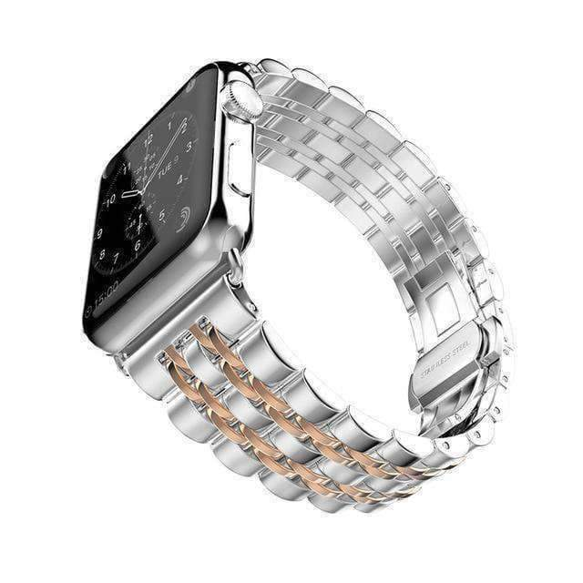 Apple Rose Gold / 38mm / 40mm Apple Watch Series 5 4 3 2 Band, Stainless Steel Rolex Style Strap, Links Watchband Smart Watch Metal Bracelet 38mm, 40mm, 42mm, 44mm
