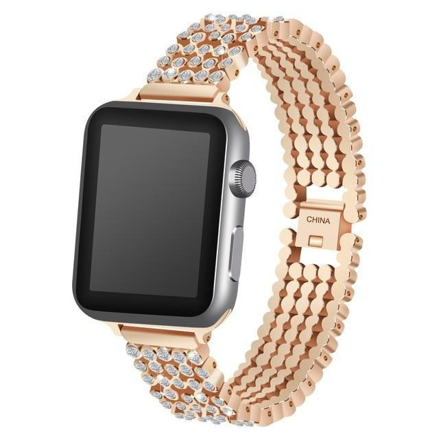 Apple rose gold / 38mm / 40mm Apple Watch Series 5 4 3 2 Band, Stylish Crystal Diamond stainless steel Replacement Band for iWatch 38mm, 42mm, 40mm, 44mm