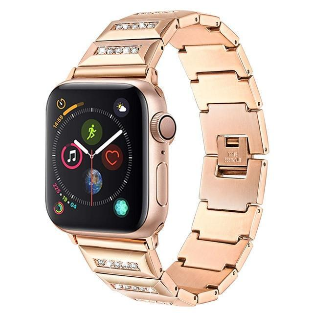 Apple Rose Gold / 38mm Apple Watch Band, Series 5 4 3 crystal line bling Stainless Steel Strap, iced out Link Bracelet, Women Diamond iWatch 38mm, 40mm, 42mm, 44mm