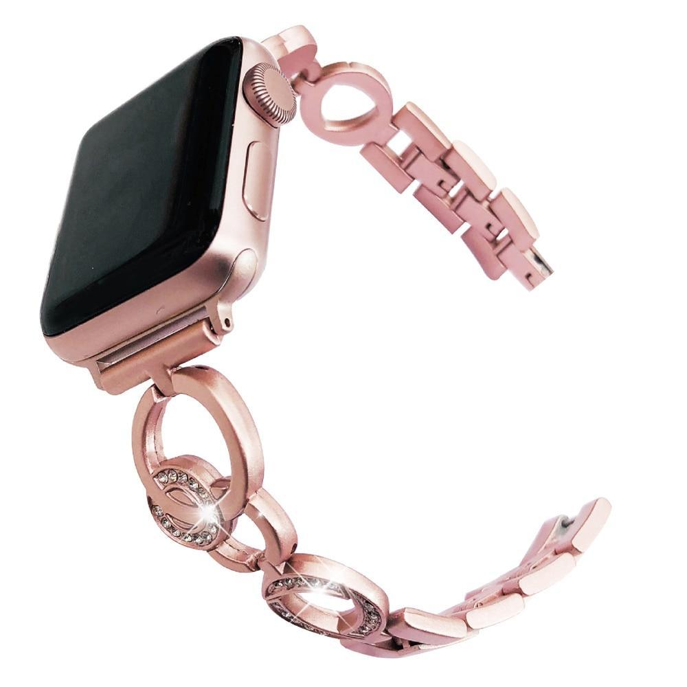 Apple Rose gold / 38mm Bling Stainless Steel Bracelet for Apple Watch 38mm 42mm 40mm 44mm Rose Gold Women Replace Watchband Strap Band for iwatch 1 2 3 4