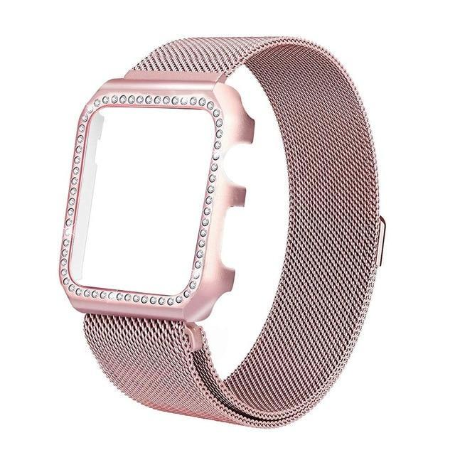 Apple Rose Gold / 38mm Strap & Diamond Case Apple Watch bundle 38mm 40mm 44mm 42mm Stainless Steel band Milanese Loop Bracelet for iWatch 4 3 2 1