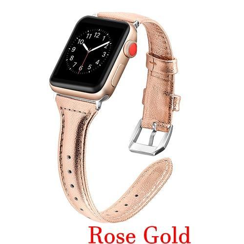 Apple Rose gold / 42mm 44mm AW Pulseira strap For apple watch band iwatch 4 3 42mm 38mm 44mm 40mm correa for apple watch band leather Bracelet Accessories, USA Fast Shipping