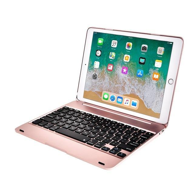 Apple Rose Gold Folding Laptop Design Wireless Bluetooth Keyboard Cover for Apple iPad 9.7 2017 2018 5th 6th Generation Air 1 2 5 6 Pro 9.7 Case