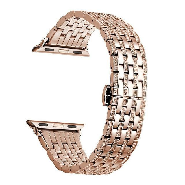 Apple rose-gold1 / 38mm Luxury Diamond Case matching strap Stainless Steel strap For Apple Watch Series 4 3 2 1 bands cover iWatch 38mm 42mm 40mm 44mm bracelet women