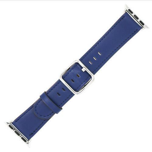 Apple Royal blue / 42 mm Leather Strap For Apple Watch Band 42mm 38mm iwatch 4/3 Bracelet 44mm 40mm bracelet Stainless Steel Classic Buckle Watchband, USA Fast Shipping