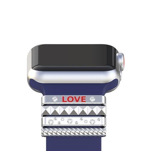 "Apple Silver / 38 mm Fits 38mm only, Original Silicone Strap Ornament for Apple Watch Band Series 1 2 3 4 Stainless Steel Metal women's Decorative Ring loop ""LOVE"" Gift"
