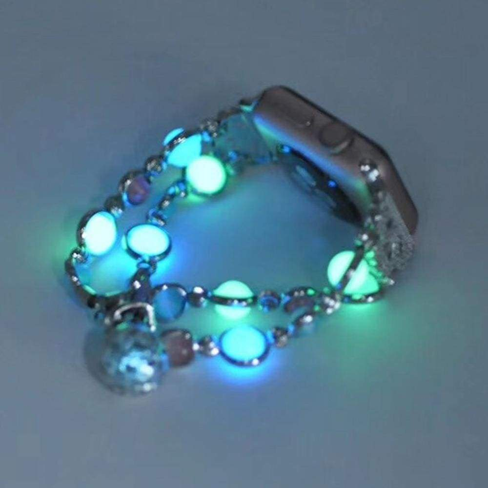 Apple Silver / 38mm / 40mm Apple Watch Series 5 4 3 2 Band, Beaded Luminous Glow in dark 38mm, 40mm, 42mm, 44mm - US Fast shipping