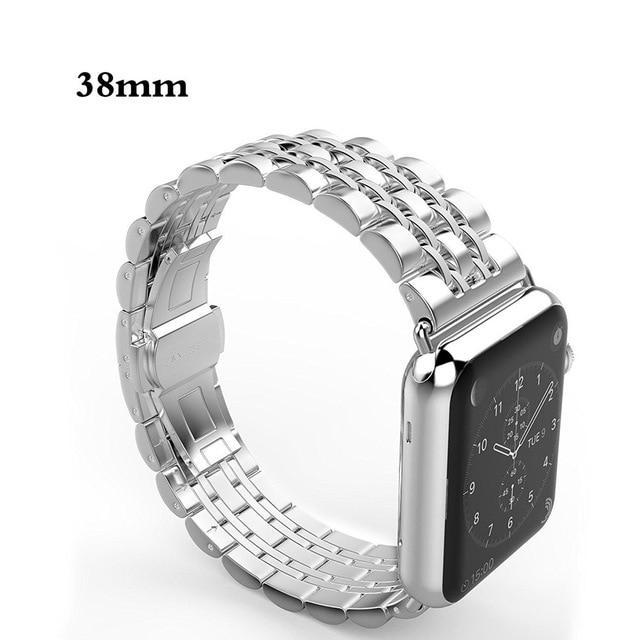 Apple silver / 38mm / 40mm Apple Watch Series 5 4 3 2 Band, Luxury metal Stainless Steel rolex Strap Bracelet Wrist Belt for iWatch 38mm, 40mm, 42mm, 44mm US Fast Shipping