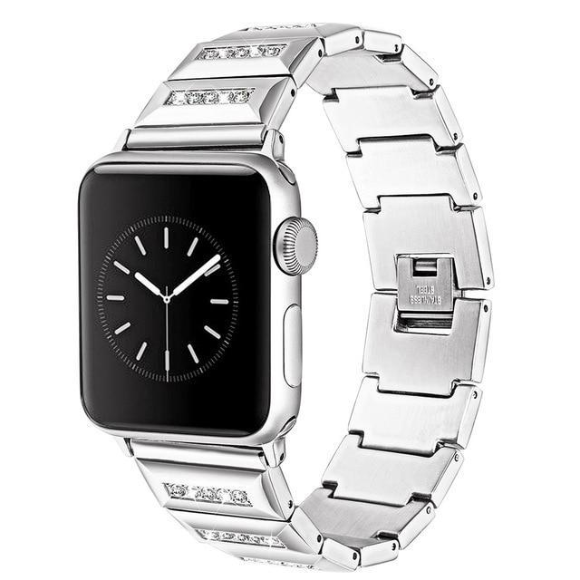 Apple Silver / 38mm Apple Watch Band, Series 5 4 3 crystal line bling Stainless Steel Strap, iced out Link Bracelet, Women Diamond iWatch 38mm, 40mm, 42mm, 44mm