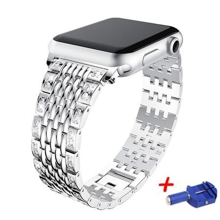 Apple Silver / 38mm Link bracelet strap For Apple watch band 42mm 38mm iwatch 4 band 44mm 40mm Diamond Stainless steel watchband Apple watch 4/3/2/1