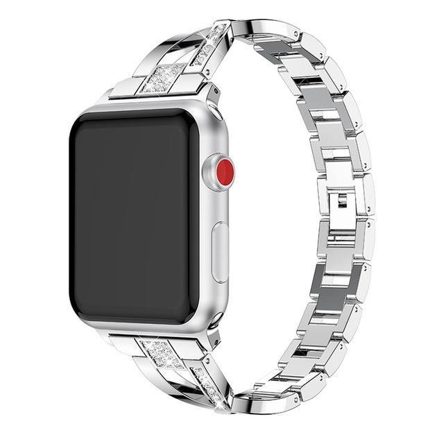 Apple Silver / 38mm or 40mm For Apple Watch band 40mm 44mm 38mm 42mm women Diamond Band for iWatch series 4 3 2 1  bracelet stainless steel strap Wristband