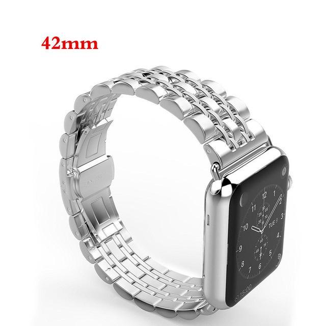 Apple silver / 42mm / 44mm Apple Watch Series 5 4 3 2 Band, Luxury metal Stainless Steel rolex Strap Bracelet Wrist Belt for iWatch 38mm, 40mm, 42mm, 44mm US Fast Shipping
