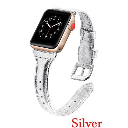 Apple Silver / 42mm 44mm AW Pulseira strap For apple watch band iwatch 4 3 42mm 38mm 44mm 40mm correa for apple watch band leather Bracelet Accessories, USA Fast Shipping