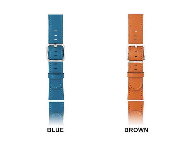 Apple Silver buckle Apple Watch Band genuine Leather Strap, iwatch blue Classic Bracelet Watchband Serie 5 4 3 42/44mm 38/40mm - US Fast Shipping