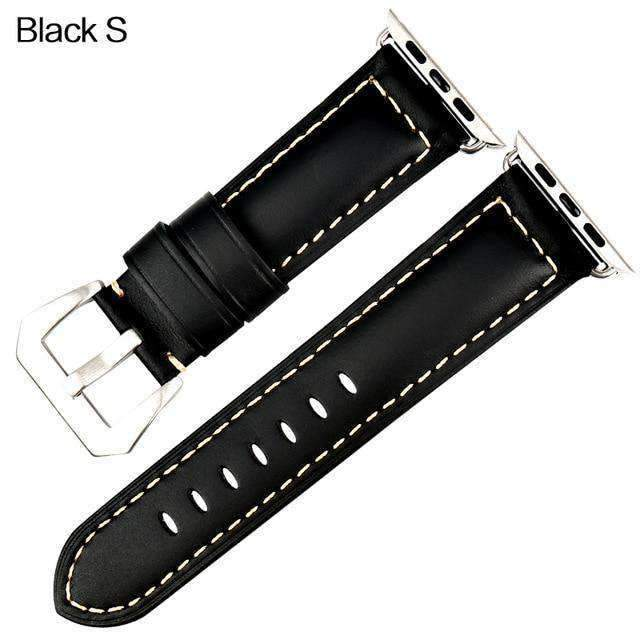 Apple Silver buckle with black leather / 42mm / 44mm Apple Watch Series 5 4 3 2 Band, Vintage Apple watch Band Tooled Leather iWatch Bracelet  42mm 38mm 38mm, 40mm, 42mm, 44mm