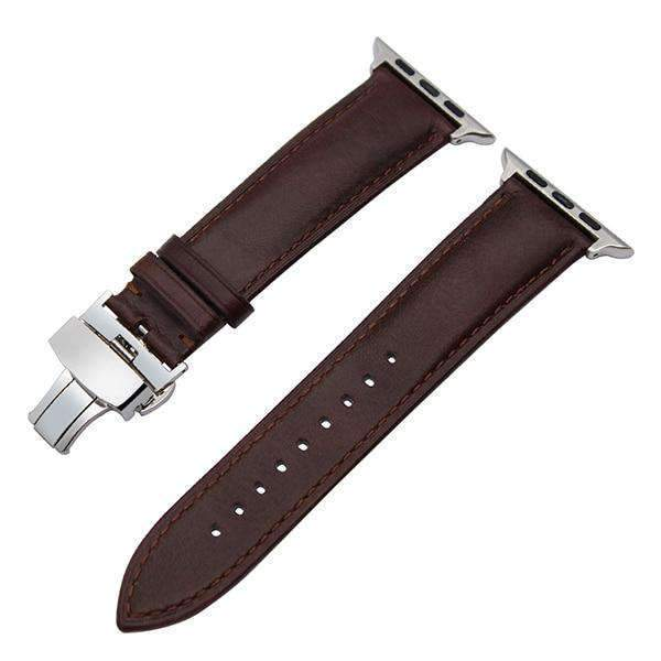 Apple Silver buckle with dark brown leather / 38mm / 40mm Apple Watch Series 5 4 3 2 Band, Italian Genuine Leather Watchband Crazy Horse, Steel Butterfly Buckle Wrist Bracelet 38mm, 40mm, 42mm, 44mm