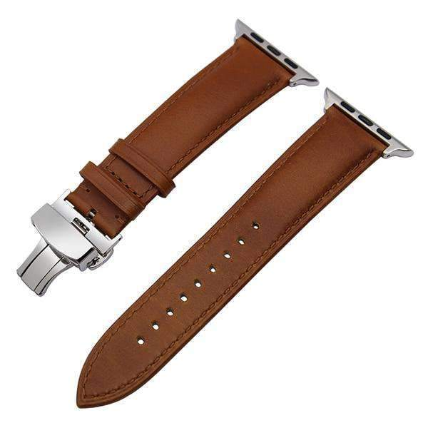 Apple Silver buckle with light brown leather / 38mm / 40mm Apple Watch Series 5 4 3 2 Band, Italian Genuine Leather Watchband Crazy Horse, Steel Butterfly Buckle Wrist Bracelet 38mm, 40mm, 42mm, 44mm