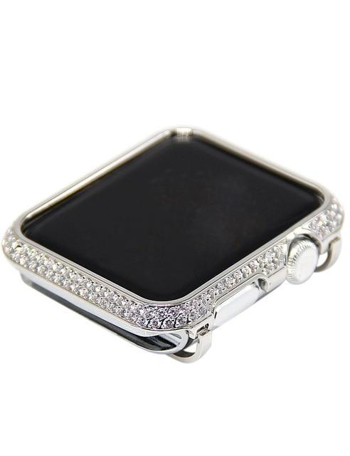 Apple Silver case only / 38mm Luxury Diamond Case matching strap Stainless Steel strap For Apple Watch Series 4 3 2 1 bands cover iWatch 38mm 42mm 40mm 44mm bracelet women