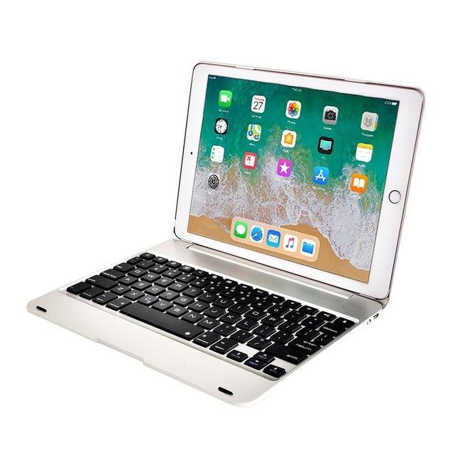 Apple Silver Folding Laptop Design Wireless Bluetooth Keyboard Cover for Apple iPad 9.7 2017 2018 5th 6th Generation Air 1 2 5 6 Pro 9.7 Case