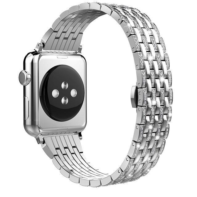 Apple silver1 / 38mm Luxury Diamond Case matching strap Stainless Steel strap For Apple Watch Series 4 3 2 1 bands cover iWatch 38mm 42mm 40mm 44mm bracelet women