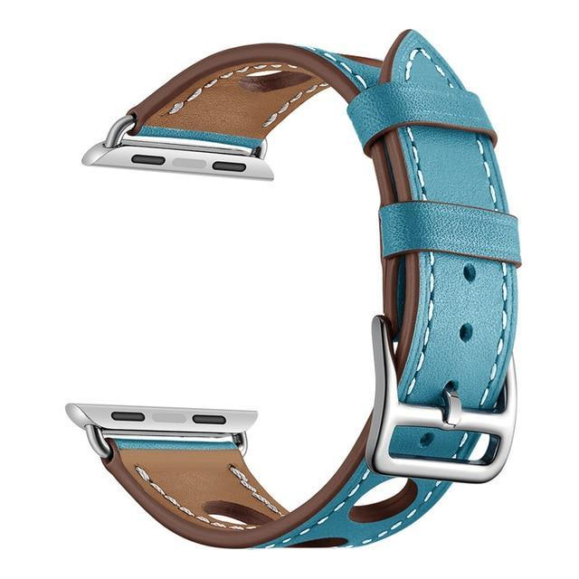 Apple Sky Blue / 38mm Apple Watch band single leather tour 42mm 38mm 44mm 40mm iwatch series 4/3/2/1 belt replacement clock bracelet wrist, USA Fast Shipping