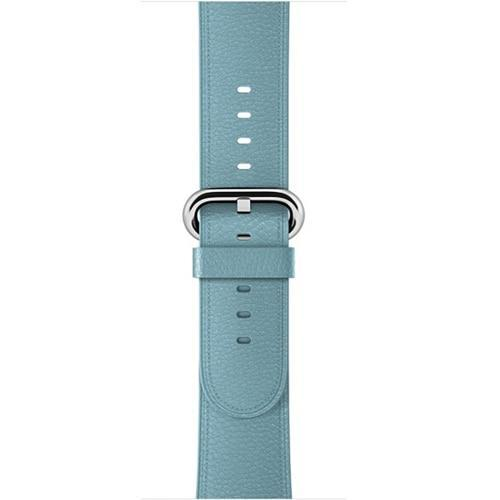 Apple Sky Blue / 42 mm Leather Strap For Apple Watch Band 42mm 38mm iwatch 4/3 Bracelet 44mm 40mm bracelet Stainless Steel Classic Buckle Watchband, USA Fast Shipping