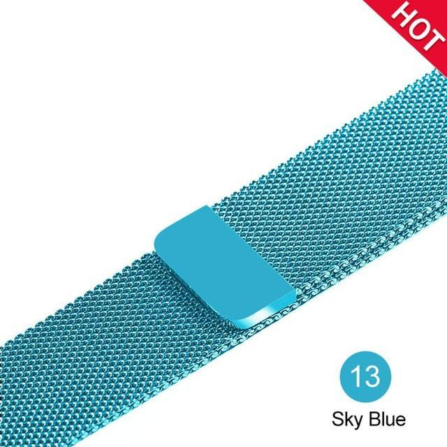 Apple Sky Blue / For 38MM and 40MM milanese loop for apple watch Series 1 2 3 4 5 band for iwatch stainless steel strap Magnetic buckle 38mm 40mm 42mm44mm Bracelet