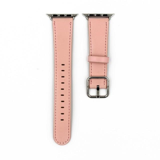 Apple Soft pink / 38mm / 40mm Apple Watch Series 5 4 3 2 Band, Classic Buckle Band for iWatch Calf Leather With Square Buckle Modern Design 38mm, 40mm, 42mm, 44mm