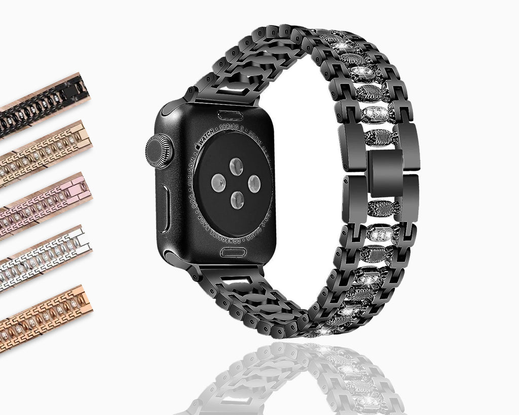 Apple Stainless Steel Women bling band for apple watch band 38mm/42mm Bracelet Adjustable Strap for apple watch 5 4 3 2 1 band