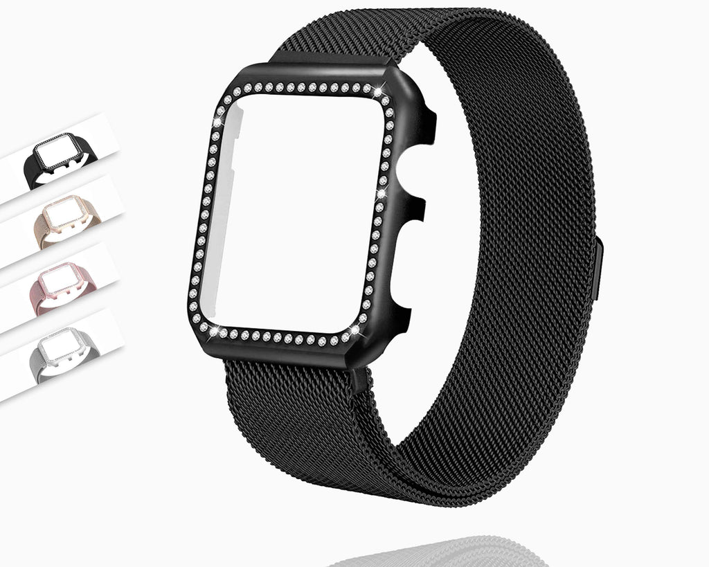 Apple Strap & Diamond Case Apple Watch bundle 38mm 40mm 44mm 42mm Stainless Steel band Milanese Loop Bracelet for iWatch 4 3 2 1
