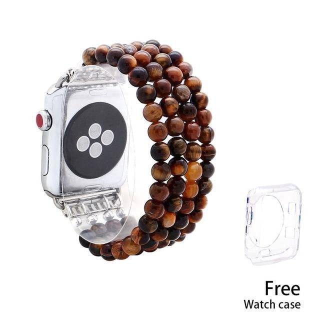 Apple tiger  eye / 38mm Tiger Eye Beads Watch Strap Natural Stone Apple Watchband For iWatch Women  38mm/42mmWatch Band 4 Rows Bracelet